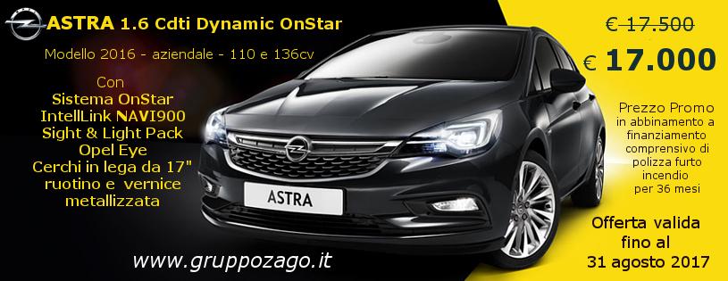 Opel Astra Dynamic OnStar in promozione da Gruppo zago